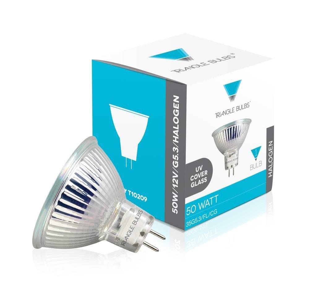 Triangle Bulbs T10209-10 (10 pack) - Q50MR16/FL/CG, 50 Watt, MR16 With Cover, 12 Volt, G5.3 Bi-pin Base, Halogen Flood Light Bulb, 10 Pack