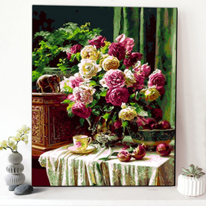 CHENISTORY DZ1461 Paint By Numbers Kits Oil Painting Charming Flowers With Frame For Wholesale