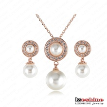 Pearl Jewelry Set 18K Rose Gold Plated White Pearl Necklace Earrings Bridal Set Inlay Genuine SWA Stellux Crystal ITL-ST0004