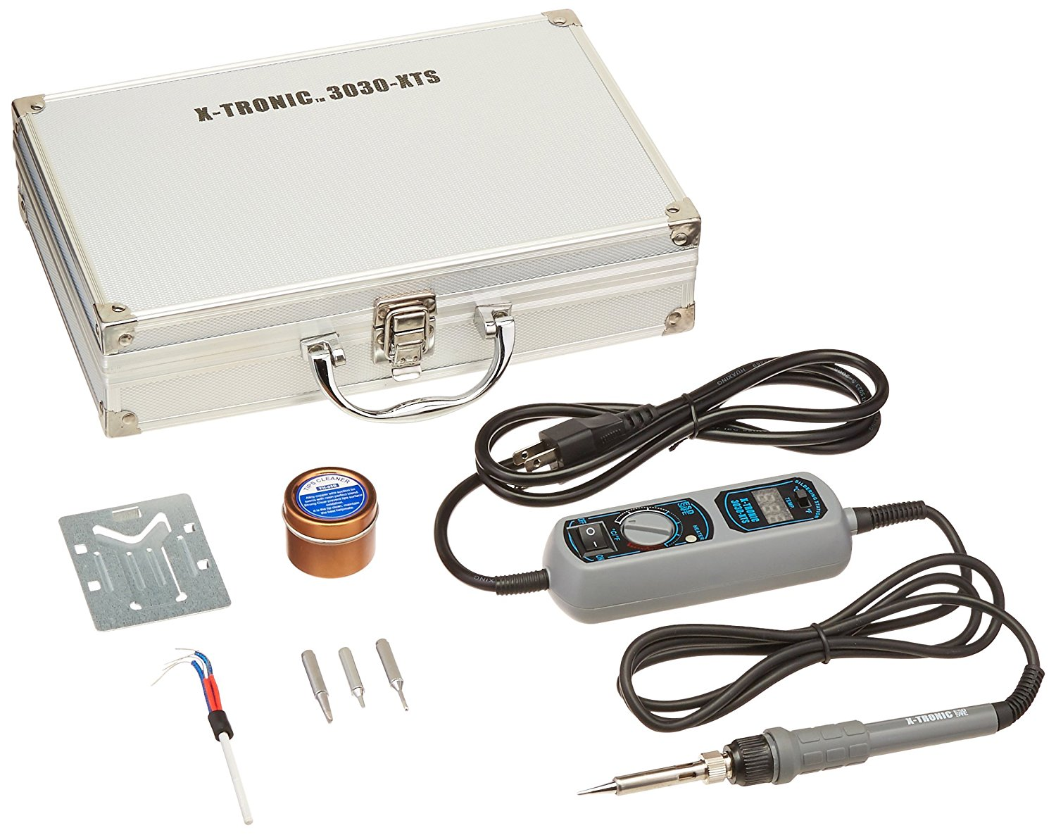 USA EXCLUSIVE X-TRONIC MODEL #3030-XTS TRAVEL KIT - Includes Control Module With Blue LED Display & Variable Heat 65 Watt Soldering Iron, Spare Element, Tip Cleaner with Cleaning Flux & 4 Solder Tips