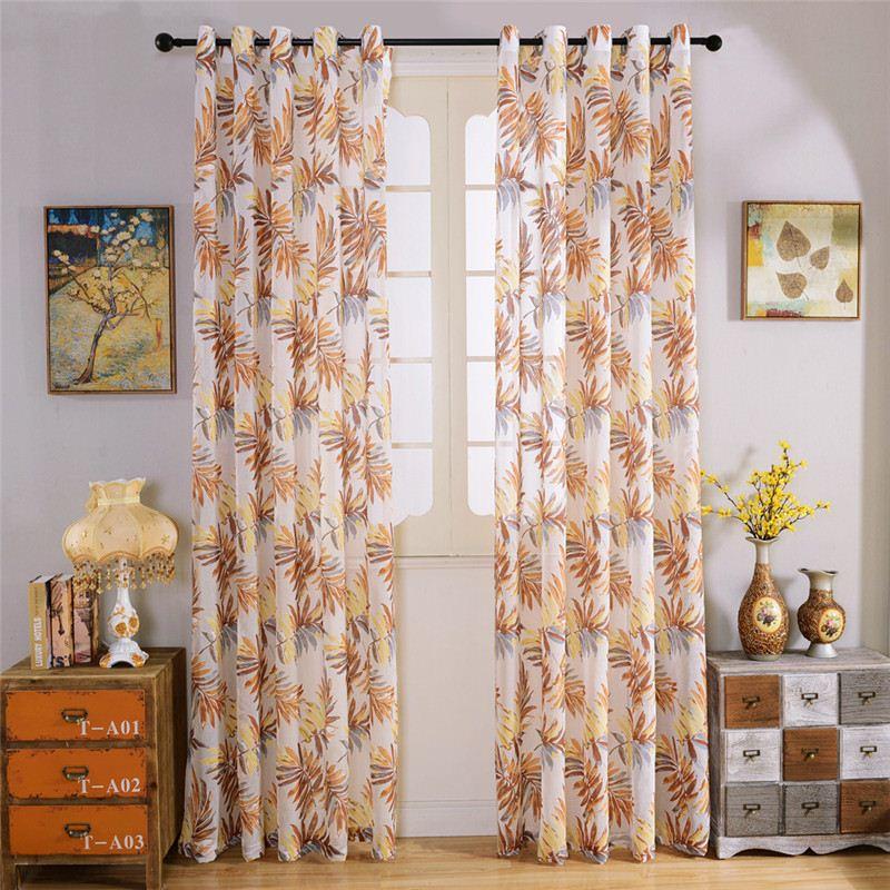 Fenster Vorhang Wohnzimmer Pastoralen Haken Stanzen Stil Zu Hause Fluid  Systems Vorhänge Blätter Muster Gelb Vorhänge