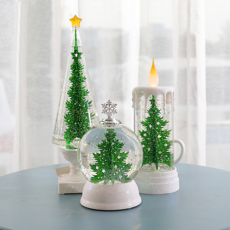 Automatic Christmas Tree: Automatic Led Green Glitter Christmas Tree Sphere Candle