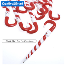 "Promotional 2017 Creative High Quality 6 1/2"" Plastic Candy Cane Pen For Christmas Gift & Decoration Application"