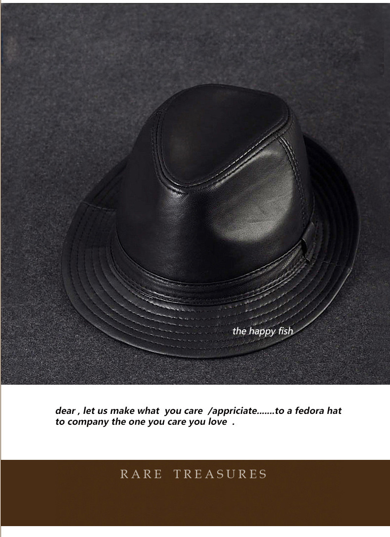 men fedora Trilby hat Black Leather Fedora Hat for men chapeau homme  vintage jazz hats for ... 761eeb1bd100