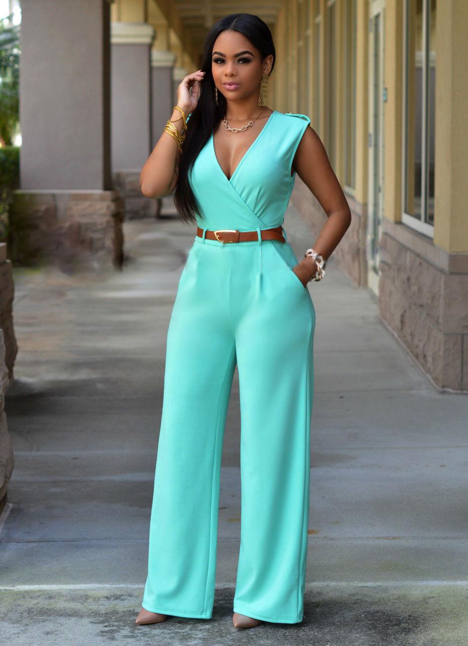 Hot Sale Big Size Blue Formal Jumpsuits For Women 2016