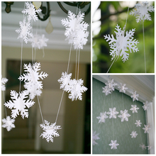 DIY 3D Snowflake Garland Hanging Decor Bunting Flag and Banner Xmas Party Decorations Christmas New Year Celebration hanging