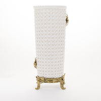 New Craft hand-knitting ceramic vase, high white porcelain luxury vase with bronze stand