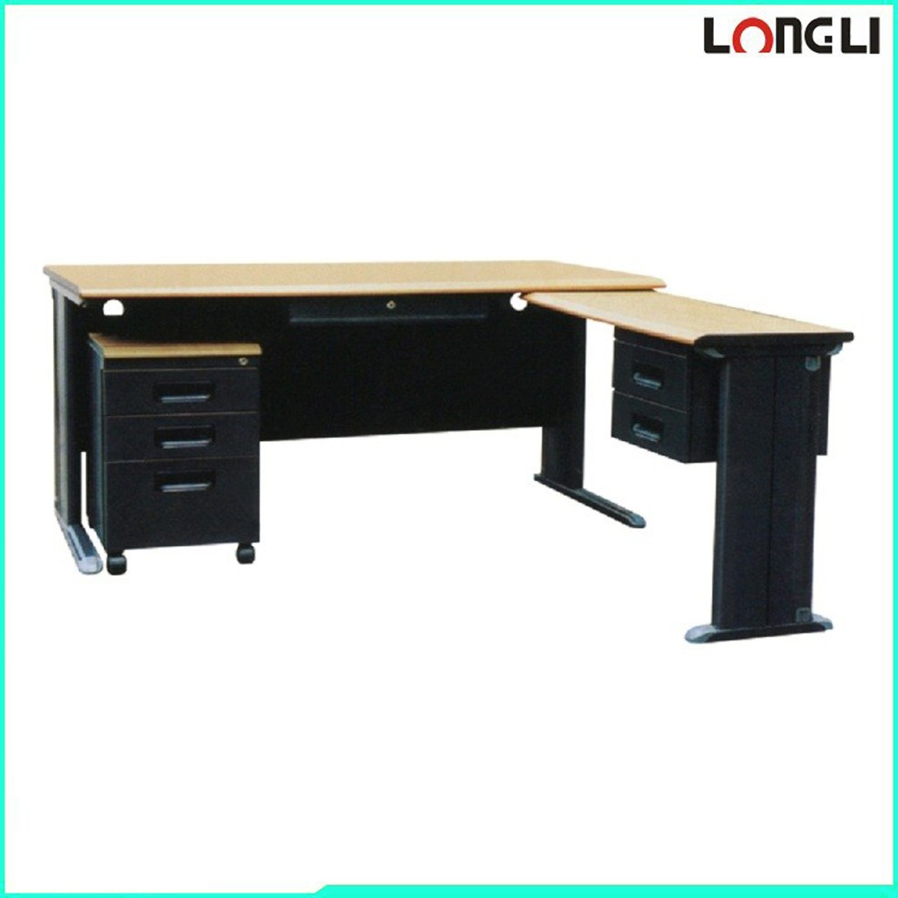 metal frame wooden surface top steel office computer table/desk