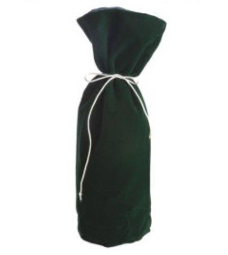 Colored Velvet Drawstring Closure Wine Bottle Gift Bag, Green