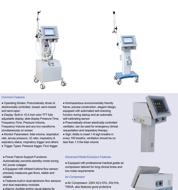 Best selling good price hospital ICU portable medical ventilator with air compressor