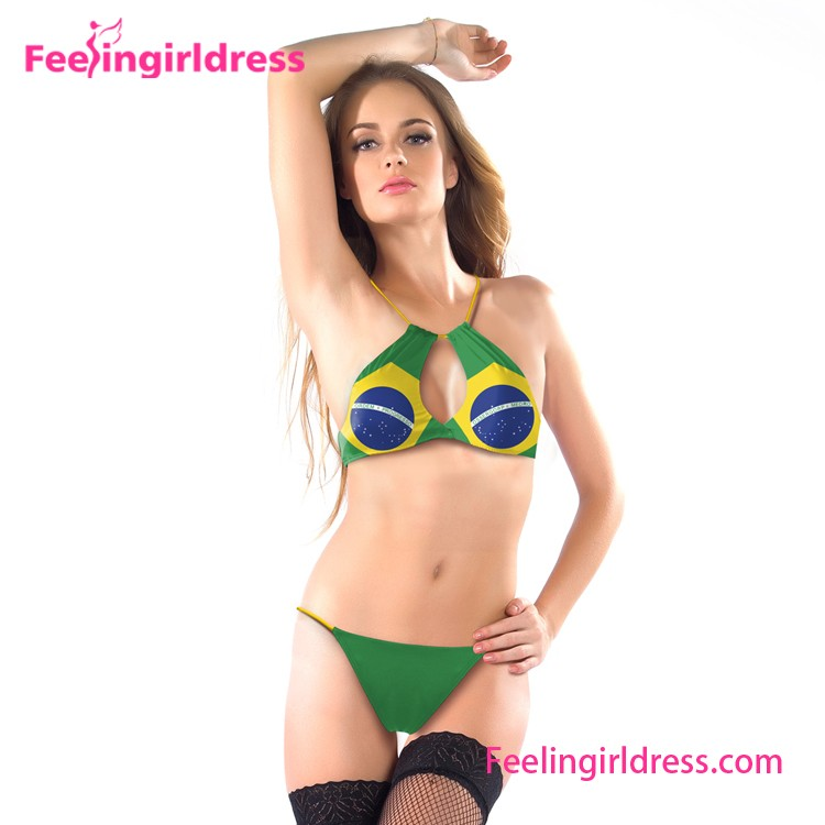 Top Selling Brazilian Swimwear Halter Sample Free Crotchless Bikinis