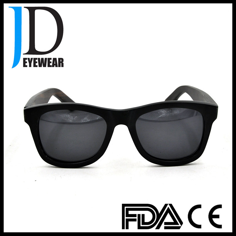 Customized Black Cool Mens Solid Ebony Wood Sun Glasses in Shenzhen factory