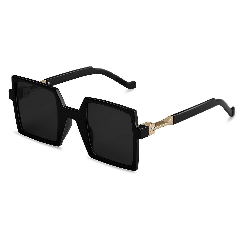 Goliath Ronin Oversized Square Sunglasses Vintage Retro Black Lens Rectangular Sunglasses Fashion Unisex Eyewear,UV400 Lens,Polycarbonate Frameectangular Sunglasses,UV400 Lens,Polycarbonate Frame