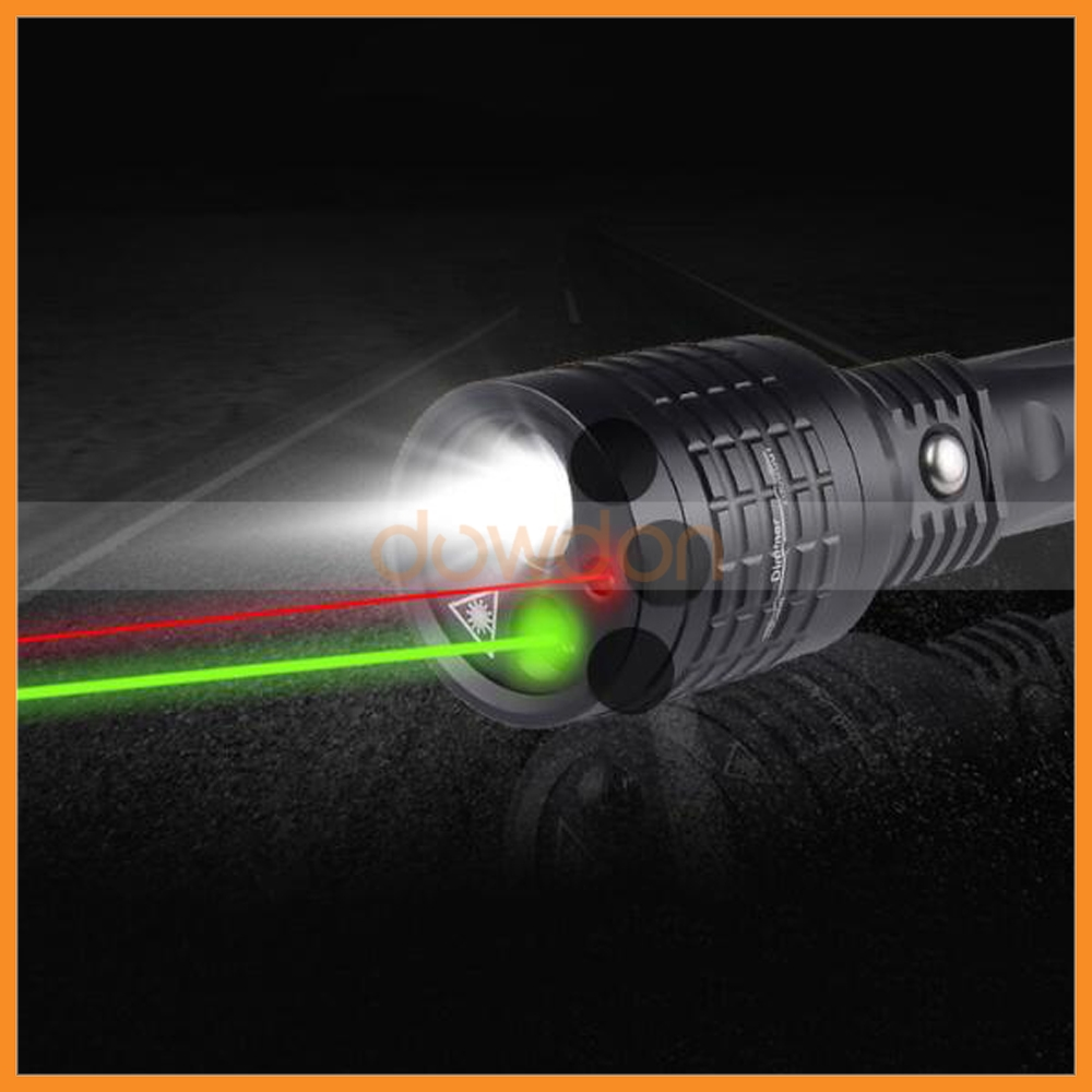 3 in 1 Multifunction Zoomable Flashlight Green Red Laser Pointer Torch