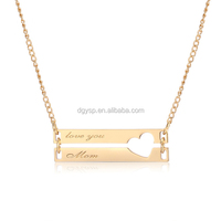 Inspire Stainless Steel Jewelry Personalized Engraved Double Bar Necklace Custom Charm Hollow Heart Necklaces for mother