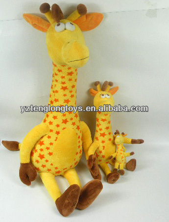 Yellow giraffe shaped stuffed plush toy plush animal toy for kids