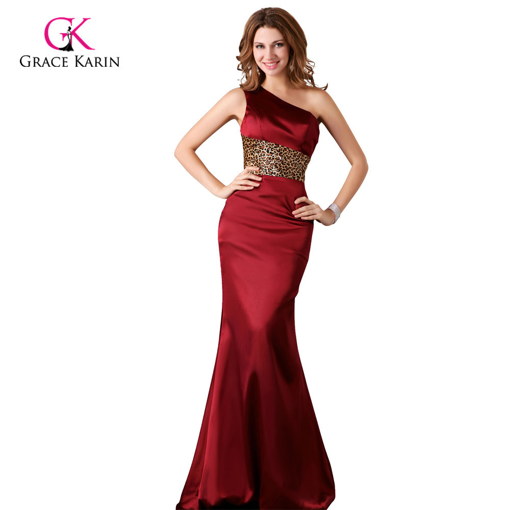 519c94c8e3e Get Quotations · Grace Karin Women cheap Long Blue Burgundy Evening Dress  Gowns One shoulder Satin vestido de