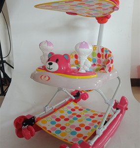 Baby walker chair cheap rolling rotating with canopy and push bar wiht rock big baby walker