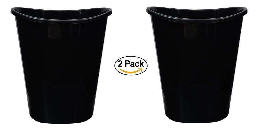 2 Small Trash Can Wastebaskets. Bathroom, Office, Desk Small Trashcan Waste Basket. Black Plastic Oval Wastebaskets, 7 Qt.