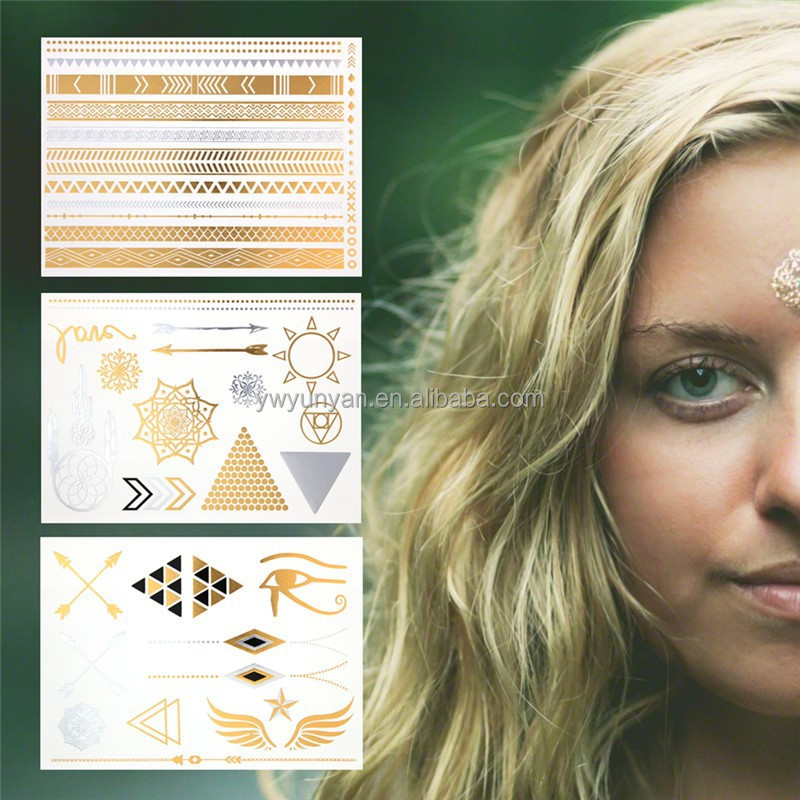 Cheap Sale New Design Swallows / Feather / Arrow Metallic Temporary Flash Tattoo Fake Chalker Tatoo Stickers On The Body