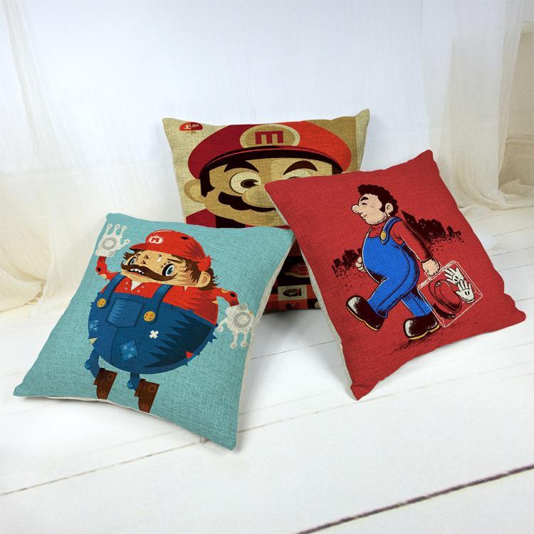 Hot Sale Thick and Thin Cotton Linen Decor Pillow New Home Fashion Gift 45cm Fresh Cartoon Red Super Mario Office Sofa Cushion
