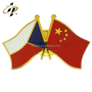 Wholesale custom national country double flag banner enamel lapel pin