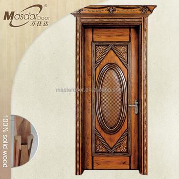 Modern Carved Exterior Solid Wood Door Polish Color