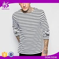 2017 Guangzhou OEM Wholesale 180g 65% Cotton 35% Polyester Long Sleeve O-Neck Stripe Long Men T shirt