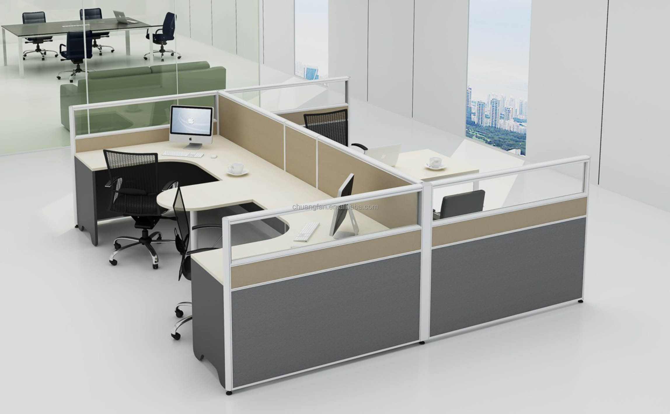 Cd60 002 Steel Frame 4 Person Workstation
