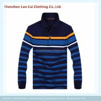 men yarn dayed striped polo shirts long sleeve pocket polo shirt