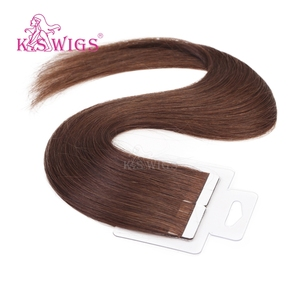 K.S WIGS 10pcs/pack 5A Tape In Human Hair Extensions Straight Ombre Virgin Remy Hair Skin Wefts Hair US Tape 4# Colors Available