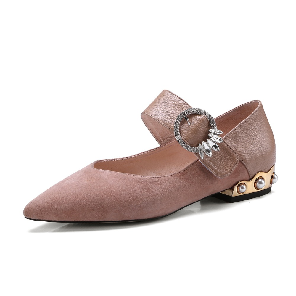 Women Rhinestone Shoes Buckle Flat Heel Flat Casual Two Heel Party Pearl Pointed Pearl Shoes Toe Tone Shoes Strap Rhinestone 7nO8w