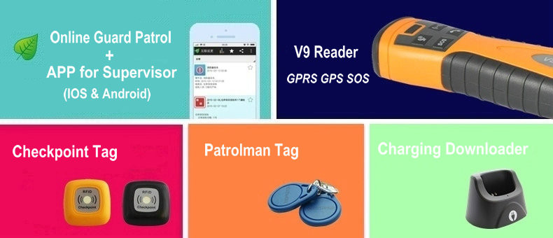 Gps gprs real time security guard tour patrol systeem met online software