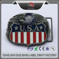 Wholesale No Minimum Promotion Cheap Custom Antique Style Soft Enamel Zinc Alloy USA Eagle Belt Buckle