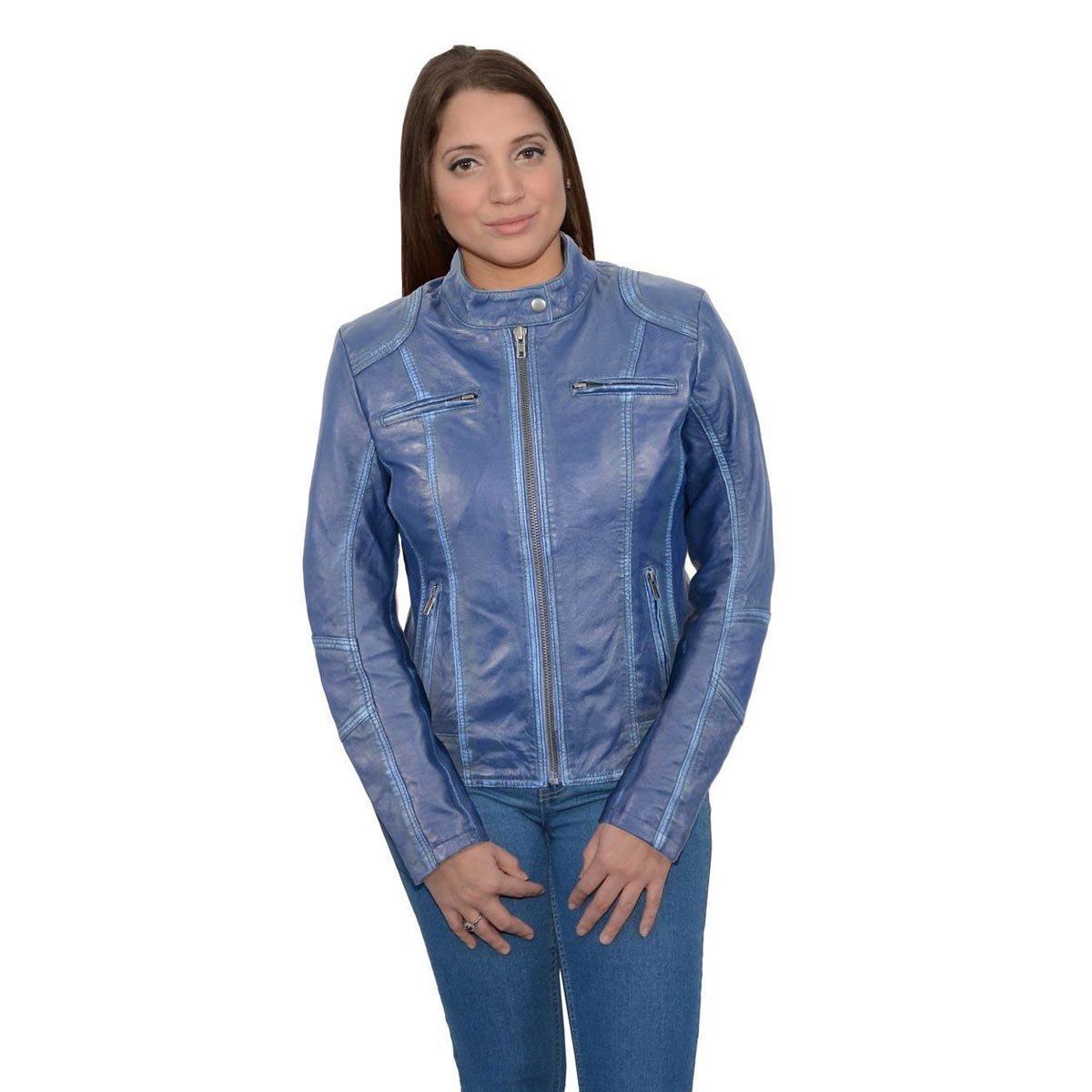 Milwaukee Leather Womens Scuba Style Royal Blue Sheepskin Jacket - Medium