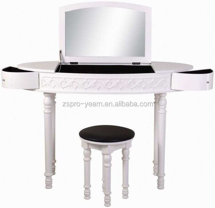 moderne en bois maquillage commode coiffeuse avec miroirs et chaise et blanc couleur design. Black Bedroom Furniture Sets. Home Design Ideas
