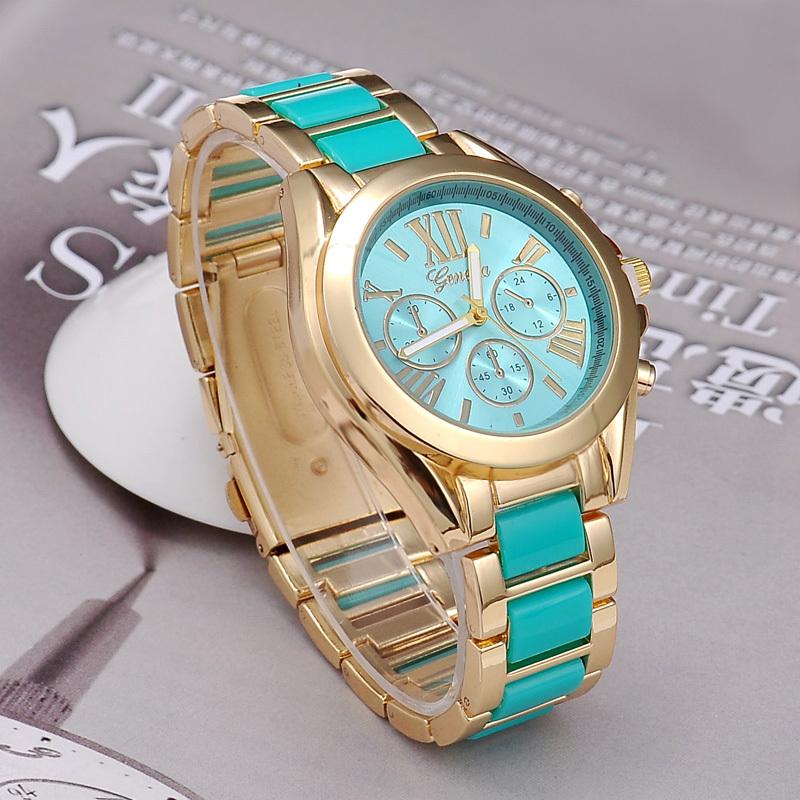 Прямая поставка женщины женева из нержавеющей стали наручные часы моде дамы позолоченный браслет часы BSL848