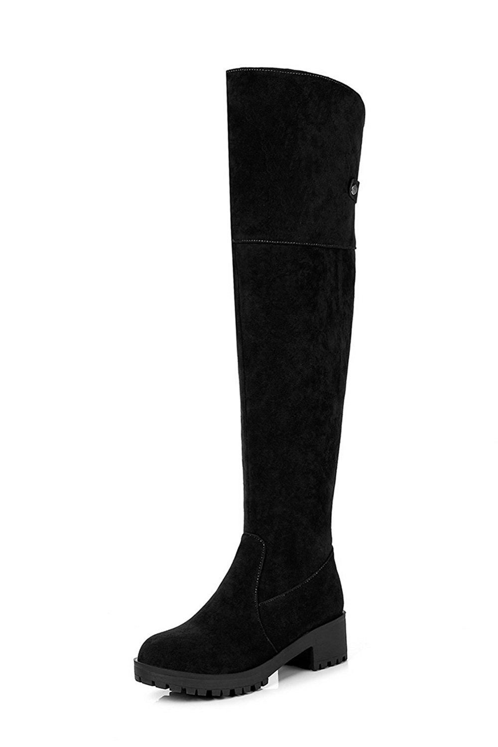 89157b5a2 Get Quotations · AN Womens Boots High-Top Kitten-Heel Warm Lining Road  Closed-Toe Urethane