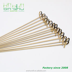 18cm food picks black bamboo knot skewers fruit bbq stick