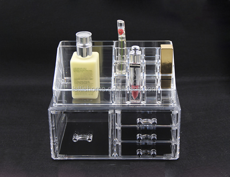 Clear Acrylic Makeup Storage Organizer cosmetic Display Box with 4 Drawers