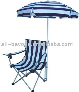 Outdoor Oxford Stripe Sun Umbrella Folding Beach Chair