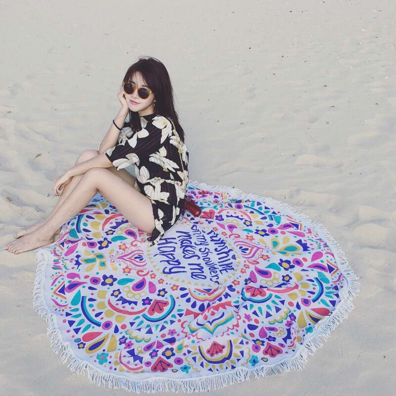 Dark color beach towel cut pile printing round towels one side Cotton Microfiber Round Beach Towel