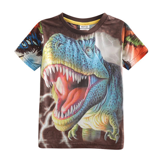 New Arrival Boys 3D Dinosaur Shirts Cotton T shirt Short Sleeve Children Tees Boys Clothes Kids Tops Summer Style Clothing TA50