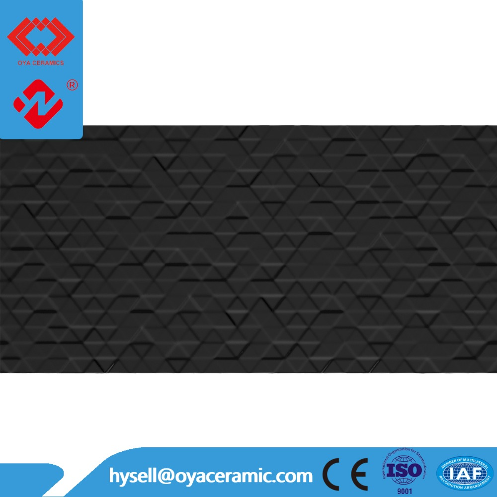 Black color Decorative Ceramic living room Mold Wall Tile 300 x 600mm
