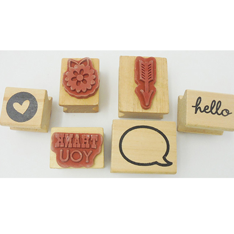 Free sample craft supply wooden rubber stamp set/custom ink stamp with wooden stamp handle