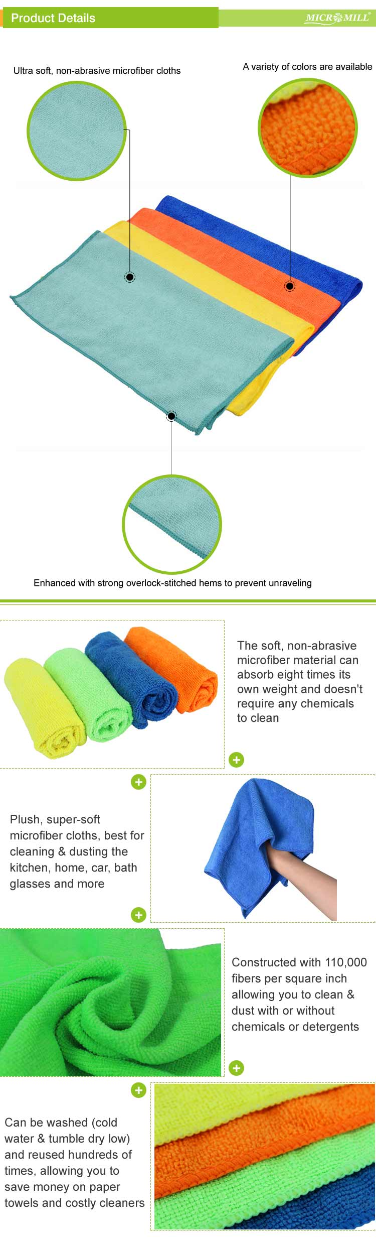 Excellent lint free reusable microfiber home cleaning cloth
