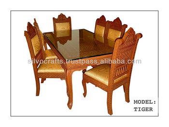 Indian Teak Wood Hand Carved Dining Room Set Restaurant Furniture Table