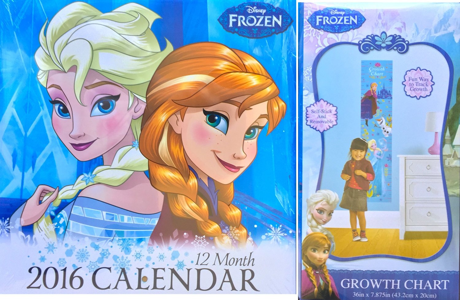 Disney Frozen Anna and Elsa 2016 Small Wall Decor Calendar Along with Disney Frozen Anna and Elsa Growth Chart, Fun Way to Track Growth with Calendar to Mark Dates
