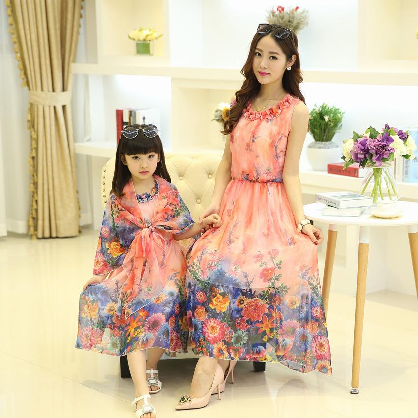 afb529383 موضة فساتين ملابس الصيف الأم ابنة عائلة Z90869A مطابقة ملابس للبنات نساء  ملابس فساتين