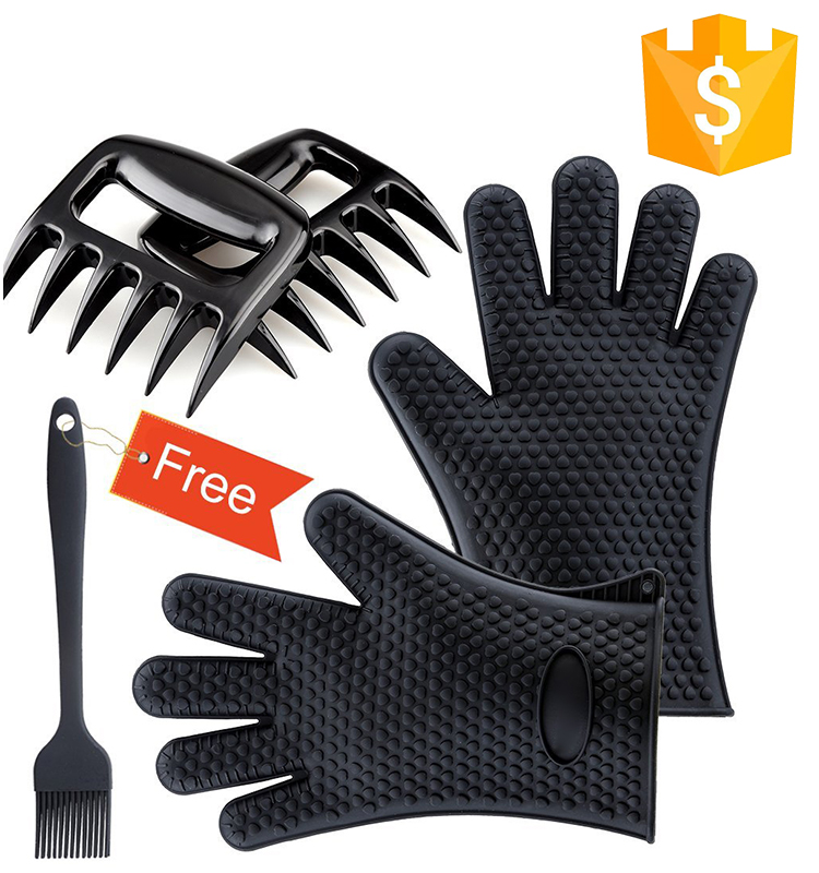 Silicone Oven Mitts bbq grill Brush and Meat Claws for Heat Resistant BBQ tools Set